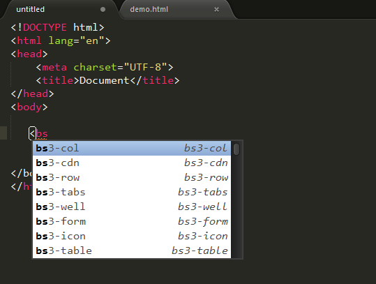 sublime text3插件bootstrap 3 snippets一些小BUG
